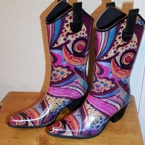 Madeline Western Colorful Cowboy rain boots